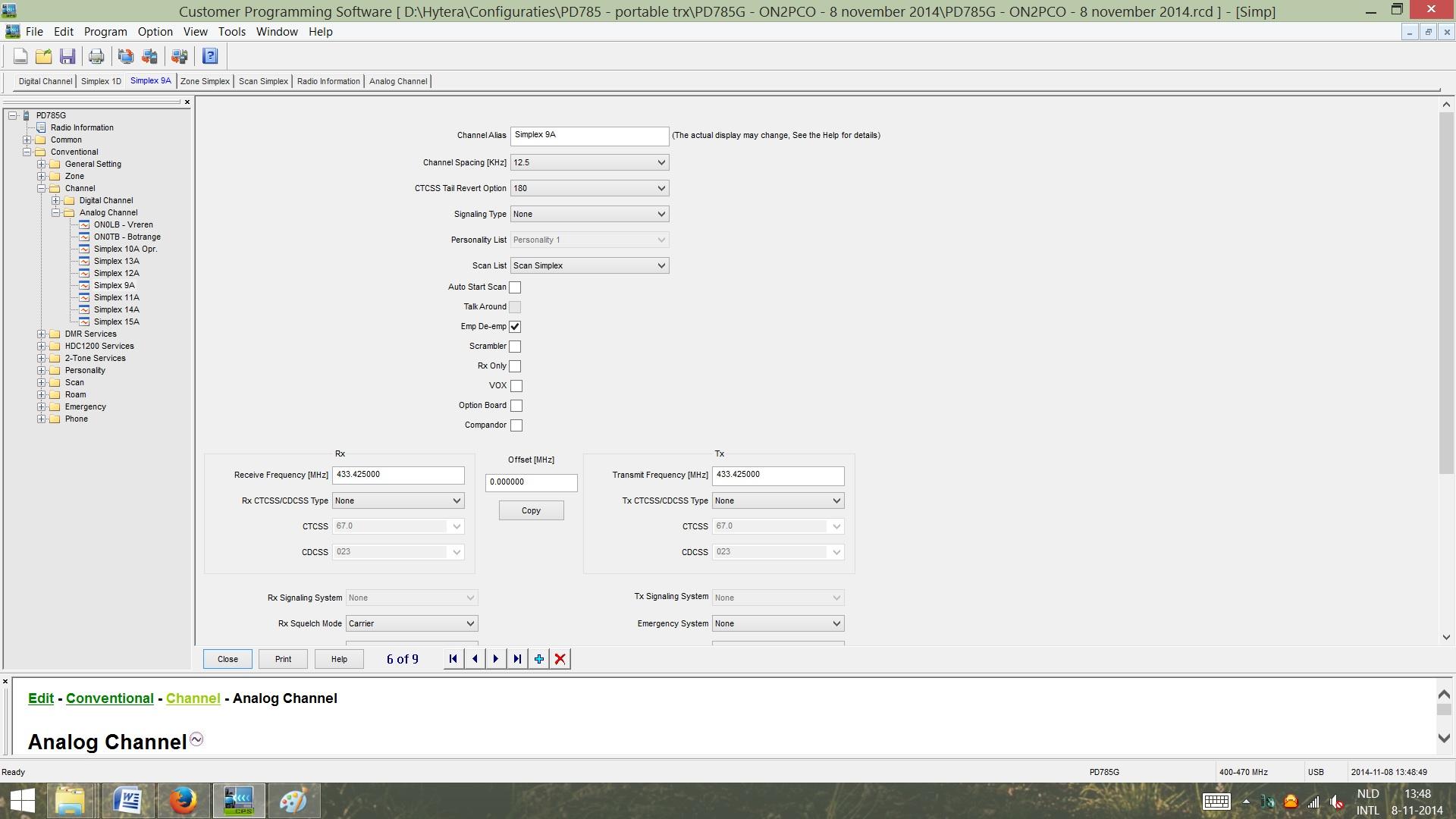 FIGUUR 5 - Channel Simplex Analoog - deel 1